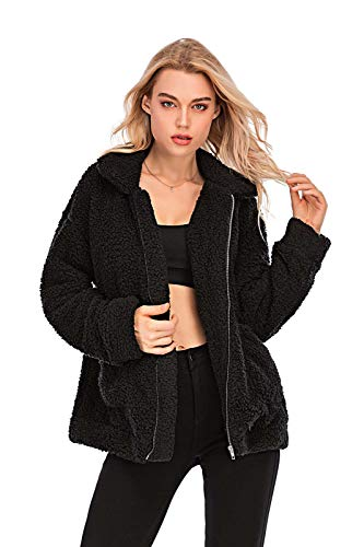 Comeon Women's Faux Fur Jacket Shaggy Jacket Winter Fleece Coat Outwear Shaggy Shearling Jacket