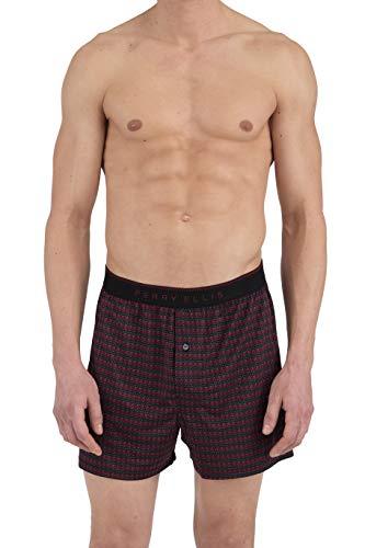 Perry Ellis Men's Chevron Stripe Luxe Boxer Short, Black/Rhubarb, Large