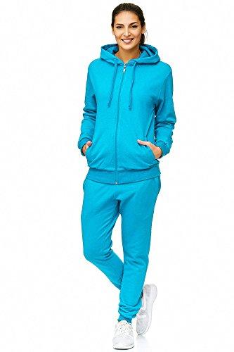 Violento Damen Jogginganzug Uni 586   100% Baumwolle   Trainingsjacke mit Reißverschluss   Hose mit Gummizug und Zugband   Rippstrickbündchen   Türkis, XL
