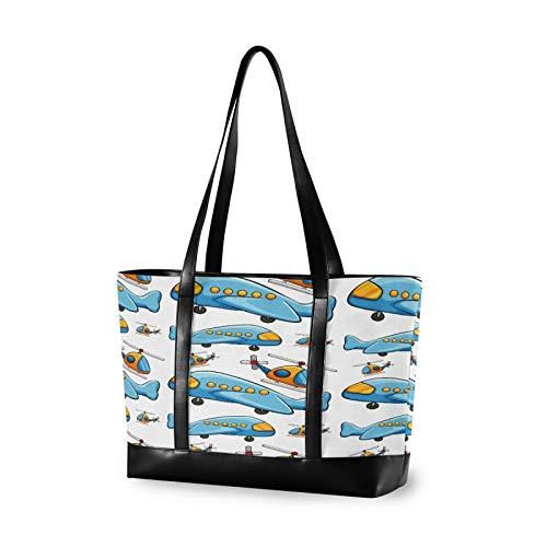 Cartoon Blue Toy Plane 14 15 15.4 15.6 inch Laptop Tote Bag for Women Large Lightweight and waterproof Computer Handbags Laptop Shoulder Messenger Bag
