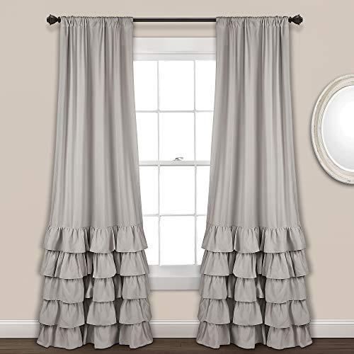 "Lush Decor Allison Ruffle Curtains Window Panel Drapes Set for Living, Dining Room, Bedroom (Pair), 84"" L, Light Gray"