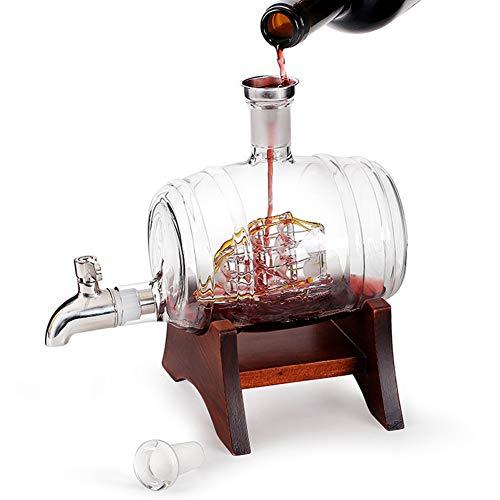 Juego De Decantador De Vino Blanco De Whisky De 1000 Ml, Barril De Cerveza Vertedor De Vodka Escocés De Vino Tinto, Soporte De Madera, Dispensador De Grifo De Acero Inoxidable - 2 Vasos Redondos