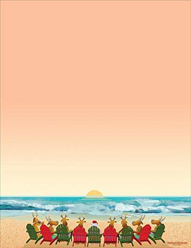 Beach Holiday Stationery - 8.5 x 11 - 60 Christmas Beach Letterhead Sheets (Beach)