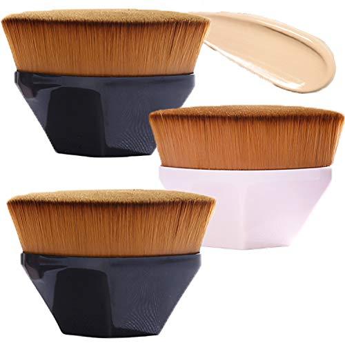 GCOA 3 Stück Foundation Pinsel Make-up Pinsel Kabuki Flat Top Gesicht Pinsel Groove Design Blush Pinsel zum Mischen von Flüssigkeit, Concealer Premium,Creme(2Schwarz +1Pinke)
