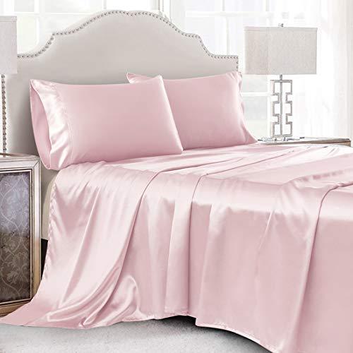 Cobedzy 4 Pcs Blush Pink Satin Sheets Full Size Silk Satin Bedding Sheets Set with 1 Deep Pocket Fitted Sheet, 1 Flat Sheet, 2 Pillowcase
