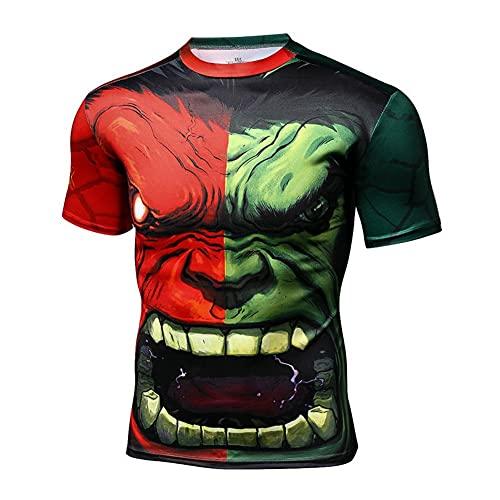 Camiseta De Compresión para Hacer Deporte, para Hombre Hombres Compresión Deporte Apretado Camisa Warrior Cosplay Manga Ejercicio Camiseta