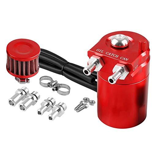 FENG motorolie-opvangbak compatibel met luchtfilters, aluminiumlegering, universeel, met slangset 300 ml, rood