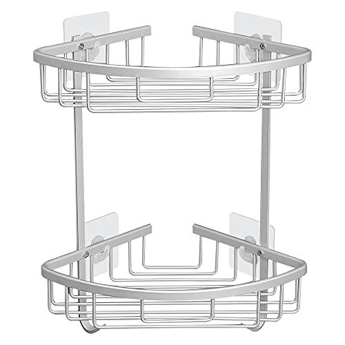 DUFU Estantería de Esquina para Baño Ducha Estante de Ducha sin Taladrar Estantes de Baño Carrito de Ducha Aluminio Herrumbre para Baño de Cocina 2 Piezas 6 Autoadhesivo (Plateado)