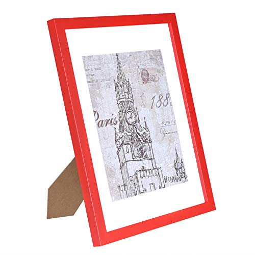 CMYK 11x14 Red Picture Frame,Anti-Corrosion Wood Photo Frame to Display 8x10 in Mat Photo 11x14in Without Mat Photo Wall Table Top Decor,Certificate Document Frame