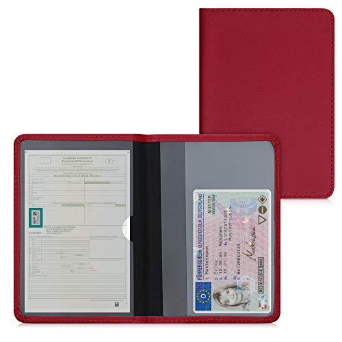 kwmobile Custodia in pelle PU per Libretto Circolazione Auto - Cover Portalibretto con Scomparti per Tessere Patente - Foderina Porta Documenti rosso scuro