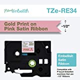 Brother P-Touch Embellish Print Satin Ribbon, Gold on Pink