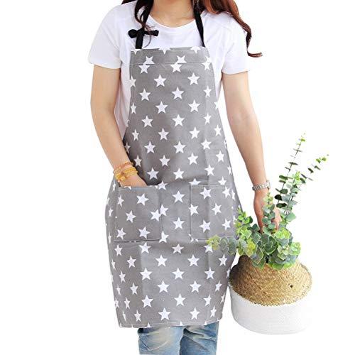 nuoshen Schürze, Sterne Schürze mit Tasche Baumwolle Damen Küchenschürze mit verstellbarem Nackenban zum Kochen Backen Grillen Malen