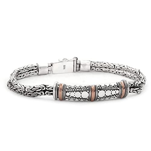 Shadi, étnico - Pulsera de plata y oro de 18 quilates, 19.5 19.5 (joyería de plata artesanal - regalo - mujer - hombre - Navidad - Reyes - cumpleaños)