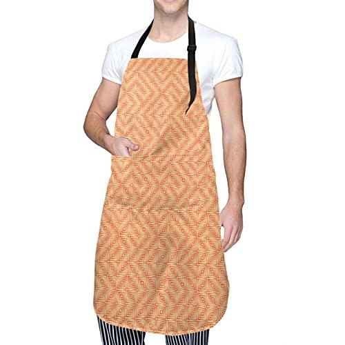 COFEIYISI Delantal de Cocina Patrón de aspecto grunge de estilo retro con gráfico áspero de azulejos cuadrados Delantal Chefs Cocina para Cocinar/Hornear