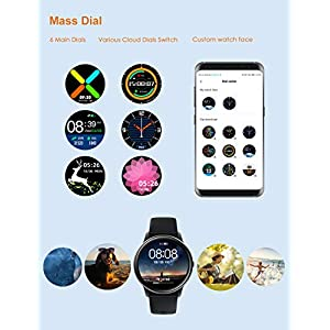 YAMAY Smart Watch Compatible iPhone and Android Phones Swimming Waterproof, Watches for Men Women Round Smartwatch Fitness Tracker Heart Rate Monitor Digital Watch with Unlimited Watch Faces (Black)