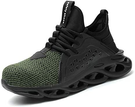 TRYBEST 2020 Breathable Men's Safety Shoes Steel Toe Safety Boots Male Work Sneakers Puncture-Proof Work Boots Men Shoes (Color : LB8056 Green, Shoe Size : 45)