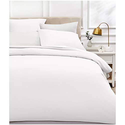 AmazonBasics - Bettwäsche-Set, Fadendichte 400, Baumwollsatin, 200 x 200 cm und zwei Kissenbezügen, 80 x 80 cm, Weiß