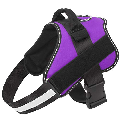 Bolux Dog Harness, No-Pull Reflective Dog Vest, Breathable Adjustable Pet Harness with Handle for Outdoor Walking - No More Pulling, Tugging or Choking ( Purple, L )