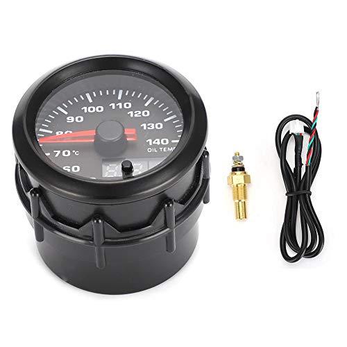 Öltemperaturanzeige, 2 Zoll 52 mm Autoöltemperaturanzeige Zeiger 7-farbiger LED-Öltemperaturmesser mit Sensor