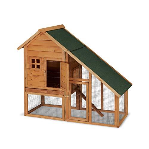 Relaxdays Hasenstall Holz, für draußen, mit Freigehege, Kleintierstall Kaninchen, Meerschweinchen, 120x140x68,5cm, Natur
