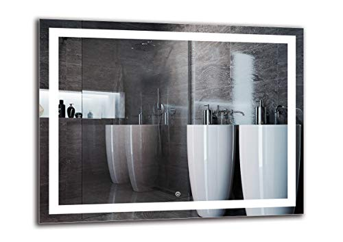 Espejo LED Deluxe - Dimensiones del Espejo 90x70 cm - Interruptor tactil - Espejo de baño con iluminación LED - Espejo de Pared - Espejo con iluminación - ARTTOR M1ZD-47-90x70 - Blanco frío 6500K