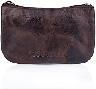 Suvelle Men's Genuine Leather Zippered Coin Pouch Change Purse Key Holder Wallet WP470
