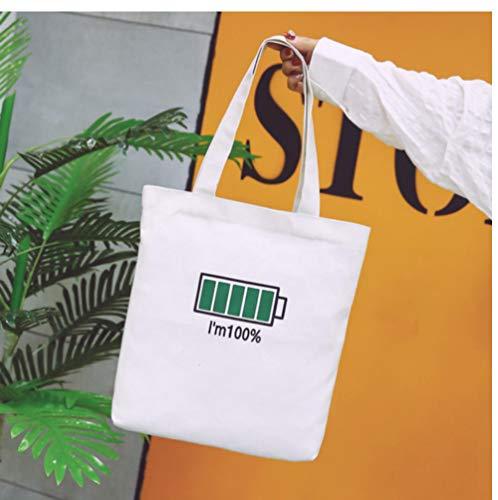 XTSZM Frauen Leinwand Einkaufstaschen Eco wiederverwendbare Damen Taschen Lustige Batterie Energie verwendet Muster-2
