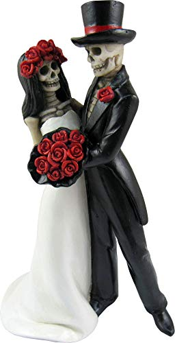 DWK - Amor Por Vida - Collectible Hand-Painted Day of The Dead Dancing Skeleton Couple Halloween Gothic Lovers Romantic Bride & Groom Figurine Wedding Statuette, 6.5-inch
