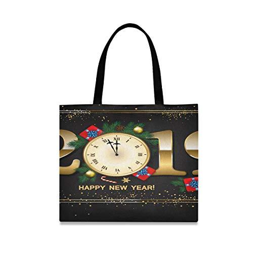 Große quadratische Kapazität Einkaufstasche Leinwand 2019 Neujahr Uhr Geschenk Leinwand Tragetaschen 19,7 X 16,9 Zoll Druck für Mädchen Damen Einkaufen tägliche Arbeit