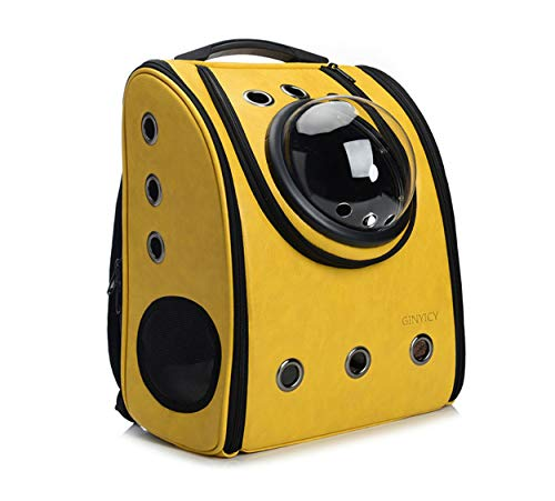 GINYICY Portable Travel Pet Carrier Backpack,Space Capsule Bubble Design,Waterproof Handbag Backpack for Cat and Small Dog,Airline Approved Pet Backpack Carrier (Yellow)