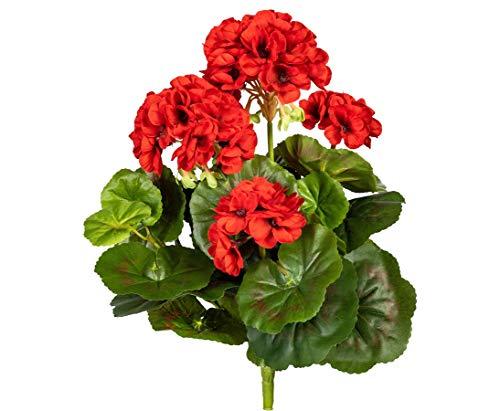 Geranie Kunstblume mit 5 roten Blüten 32cm hoch und 30 Blättern - Kunstpflanze künstliche Blumen Kunstblumen Blumensträuße künstlich, Seidenblumen oder Blumen aus Plastik Kunststoff