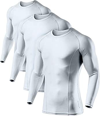 ATHLIO Men's Cool Dry Fit Long Sleeve Compression Shirts, Active Sports Base Layer T-Shirt, Athletic Workout Shirt, 3pack Round Neck(bls01) - White/White/White, Medium