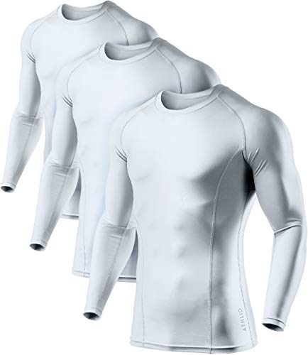 ATHLIO Men's Cool Dry Fit Long Sleeve Compression Shirts, Active Sports Base Layer T-Shirt, Athletic Workout Shirt, 3pack(bls01) - White/White/White, XX-Large