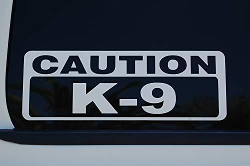 5 Star Graphics Caution K-9 Sticker Vinyl Decal Choose Color & Size!! Police K9 Law Enforcement Service Dog Security (V600) (10' X 3.75', White)