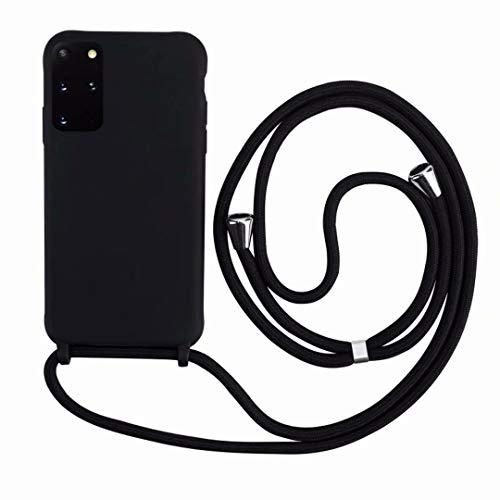 2ndSpring Cover con Collana Compatibile con Samsung Galaxy S21,Case con Laccio per Il Collo Custodia con Cordino,Soft Silicone Nero