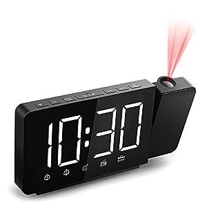 Quntis Reloj Despertador Digital, Despertador Proyector con FM Radio,Brillo de Proyección 360°Ajustable,12/24 H,2 Despertadores con Snooze,Pantalla LED 7.4