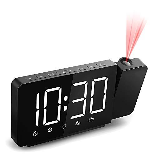 Quntis Reloj Despertador Digital, Despertador Proyector con FM Radio,Brillo de Proyección 360°Ajustable,12/24 H,2 Despertadores con Snooze,Pantalla LED 7.4' con Memoria para Casa,Dormitorio,Oficina