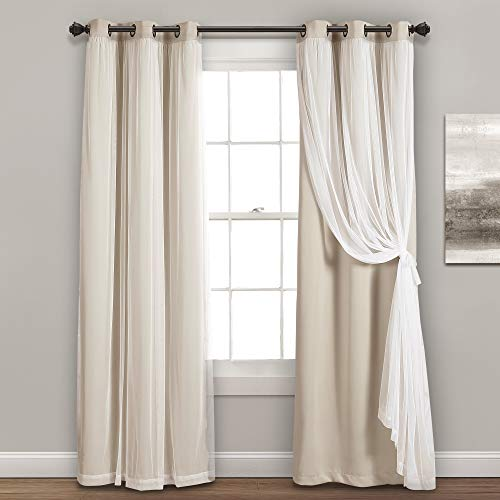 """Lush Decor, Wheat Grommet Sheer Insulated Blackout Lining Window Curtain Panel Pair, 95'' x 38', 95"""" L"""