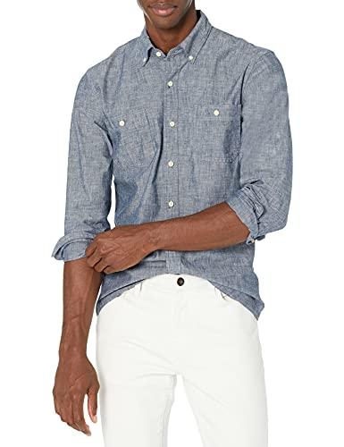 Goodthreads Slim-Fit Long-Sleeve Chambray Shirt Button-Down-Shirts, Marino, US L (EU L)