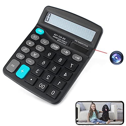 GEQWE Calculadora De Cámara Espía 2 En 1 con Captura De Video HD De 1080P, Detección De Movimiento Y Acceso A Aplicaciones Inalámbricas En Vivo, Vigilancia Inteligente Oculta En El Hogar