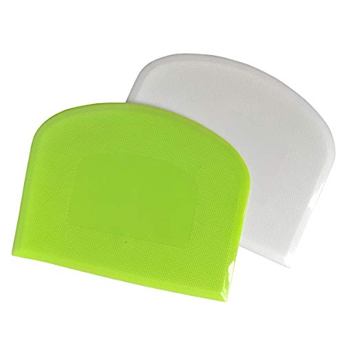 Dough Bowl Spatula & Bench Scraper,Multipurpose Kitchen Tool,Set of 2 Pieces - White,Green