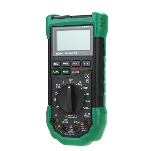 MASTECH MS8229rango automático lcd retroiluminación DMM Digital multímetros W/Iluminación de ruido probador de temperatura y humedad