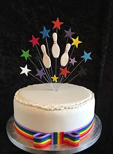Geburtstagskuchenaufsatz mit Sternen und Bowling, ideal für 20cm Kuchen, 10 Stück, plus 1m x 25mm Regenbogen Ripsband mit Schleife