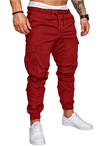 THWEI Men's Cargo Pants Slim Fit Casual Jogger Pant Chino Trousers Sweatpants(Red,M)