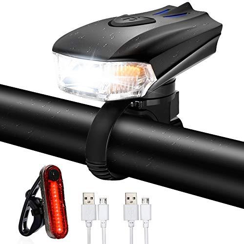 Ozvavzk Luces Bicicleta,Luz Bicicleta Delantera y Trasera,Luces Bicicleta Recargable USB con 5 Modos,Linterna Bicicleta Impermeable,Luz LED Bicicleta para Carretera y Montaña