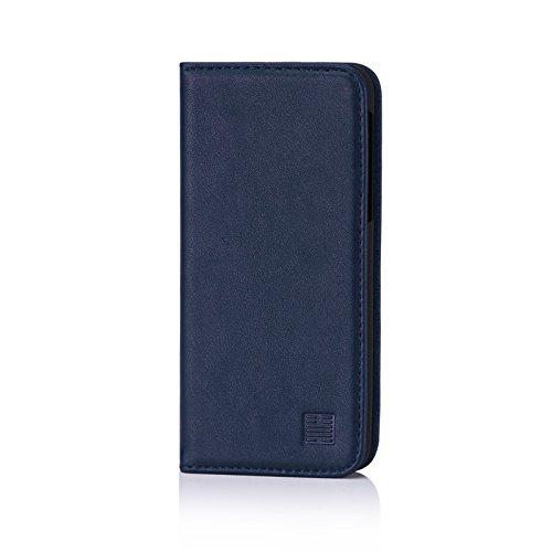 32nd Klassische Series - Lederhülle Hülle Cover für HTC U Play, Echtleder Hülle Entwurf gemacht Mit Kartensteckplatz, Magnetisch & Standfuß - Marineblau