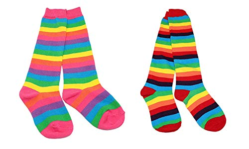 Colourful Baby World Girls' Rainbow Stripe Knee High Stripe Fancy Socks (Knee Socks Twin Pack, Age 6-10)