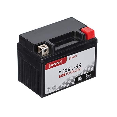 Accurat Motorradbatterie YTX4L-BS 5Ah 55A 12V Gel Technologie Starterbatterie in Erstausrüsterqualität zyklenfest sicher lagerfähig wartungsfrei