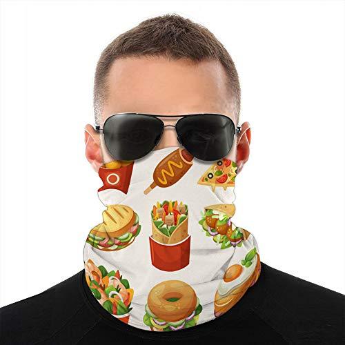 Holefg3b Microfibra Cuello Sombreros Bufanda Cubierta Escudo Iconos de Comida rápida Unisex Cubierta Escudo