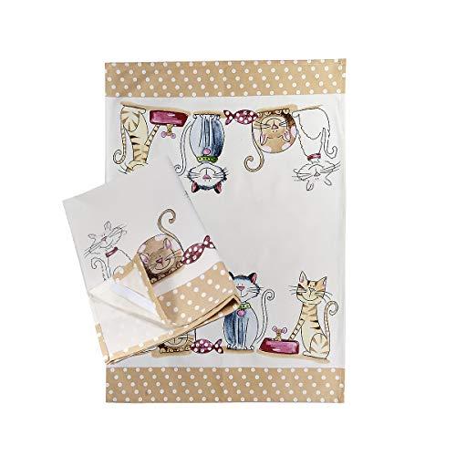 2er Set Geschirrtücher Küchentücher Trockentücher Küche aus 100% Baumwolle 50 x 70 cm, niedliches Katzen-Motiv Katze Geschenk für Katzenliebhaber und Köche